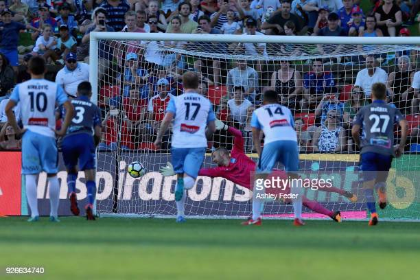 Dimitri Petratos of the Jets kicks a penalty goal during the round 22 ALeague match between the Newcastle Jets and Sydney FC at McDonald Jones...