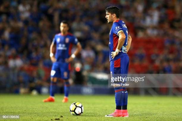 Dimitri Petratos of the Jets lines up for a free kick during the round 16 ALeague match between the Newcastle Jets and the Brisbane Roar at McDonald...