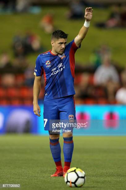 Dimitri Petratos of the Jets prepares for a free kick during the round eight ALeague match between the Newcastle Jets and the Melbourne Victory at...