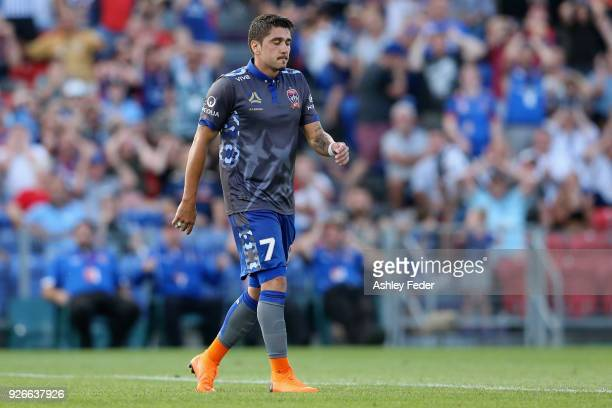 Dimitri Petratos of the Jets reacts to a near miss at goal during the round 22 ALeague match between the Newcastle Jets and Sydney FC at McDonald...