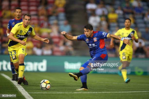 Dimitri Petratos of the Jets shoots for goal during the round 15 ALeague match between the Newcastle Jets and the Central Coast Mariners at McDonald...
