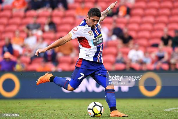 Dimitri Petratos of the Jets shoots on goal during the round 21 ALeague match between the Brisbane Roar and Newcastle Jets at Suncorp Stadium on...