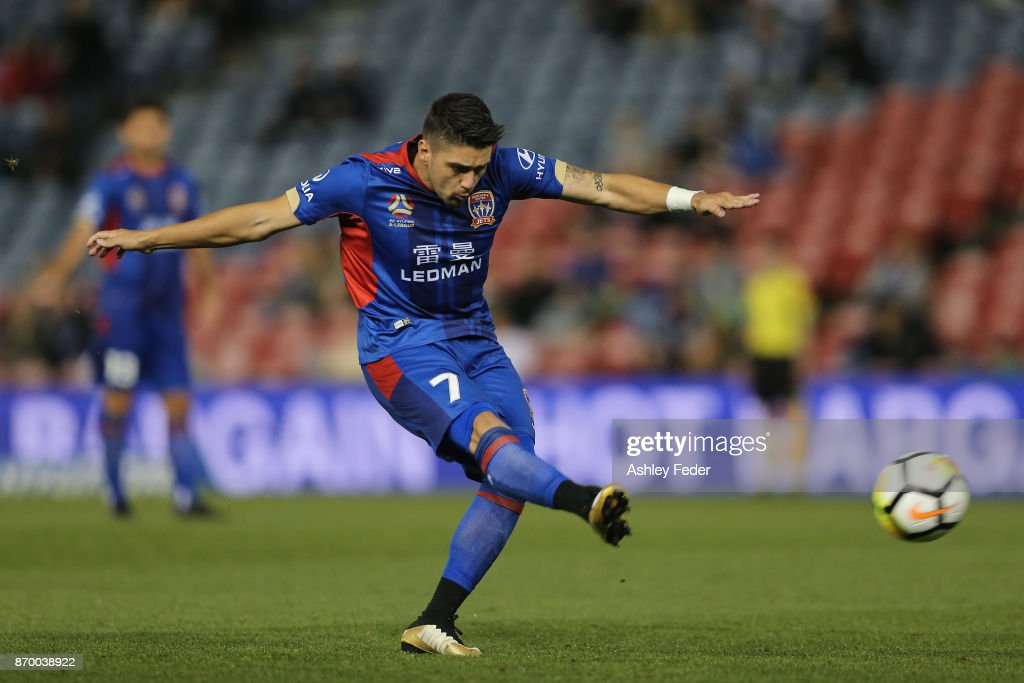 Dimitri Petratos of the Jets takes a free kick during the round five A-League match between the Newcastle Jets and the Wellington Phoenix at McDonald Jones Stadium on November 4, 2017 in Newcastle, Australia.