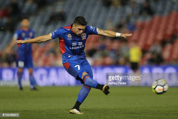 Dimitri Petratos of the Jets takes a free kick during the round five ALeague match between the Newcastle Jets and the Wellington Phoenix at McDonald...