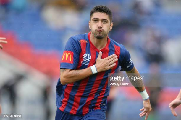 Dimitri Petratos of the Newcastle Jets celebrates his goal during the round 18 A-League match between the Newcastle Jets and the Central Coast...