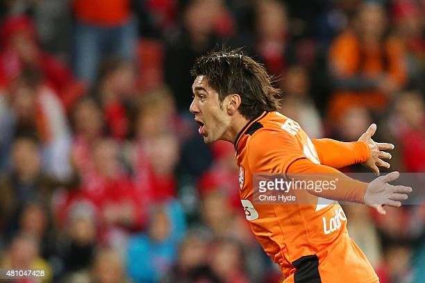 Dimitri Petratos of the Roar celebrates a goal during the international friendly match between Brisbane Roar and Liverpool FC at Suncorp Stadium on...