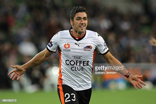 Dimitri Petratos of the Roar celebrates his goal during the round 13 ALeague match between the Melbourne Victory and Brisbane Roar at AAMI Park on...