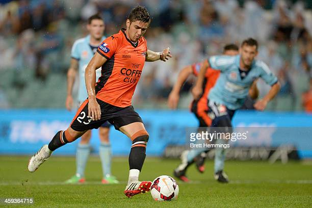 Dimitri Petratos of the Roar takes a penalty kick during the round 12 ALeague match between Sydney FC and Brisbane Roar at Allianz Stadium on...