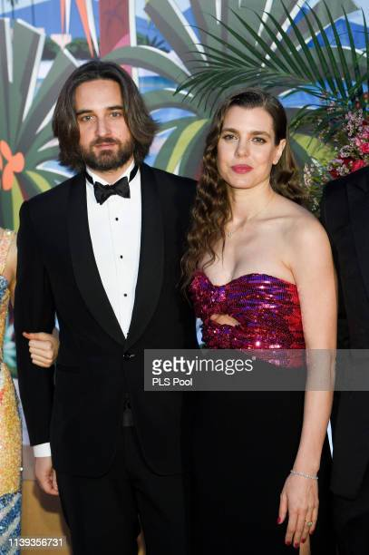Dimitri Rassam and Charlotte Casiraghi attend the Rose Ball 2019 to benefit the Princess Grace Foundation on March 30 2019 in Monaco Monaco