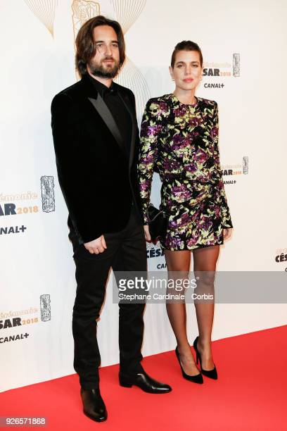 Dimitri Rassan and Charlotte Casiraghi arrive at the Cesar Film Awards 2018 at Salle Pleyel at Le Fouquet's on March 2 2018 in Paris France