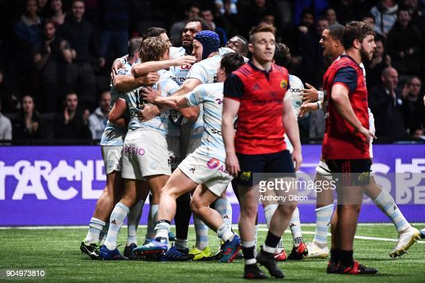 Dimitri Szarzewski and Team of Racing celebrates a try during the Champions Cup match between Racing 92 and Munster at U Arena on January 14 2018 in...