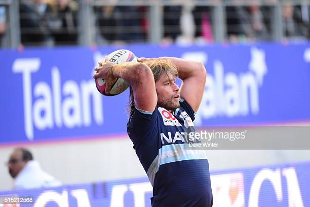 Dimitri Szarzewski of Racing 92 during the French Top 14 rugby union match between Stade Francais Paris and Racing 92 at Stade JeanBouin on March 12...