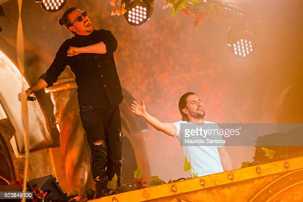 Dimitri Vegas Like Mike performs live on stage during the third day of the Tomorrowland music festival at Parque Maeda Itu on April 23 2016 in Sao...