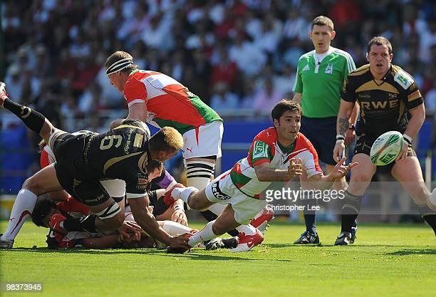 Dimitri Yachvili of Biarritz in action during the Heineken Cup Quarter Final match between Biarritz Olympique and Ospreys at the Estadio Anoeta on...