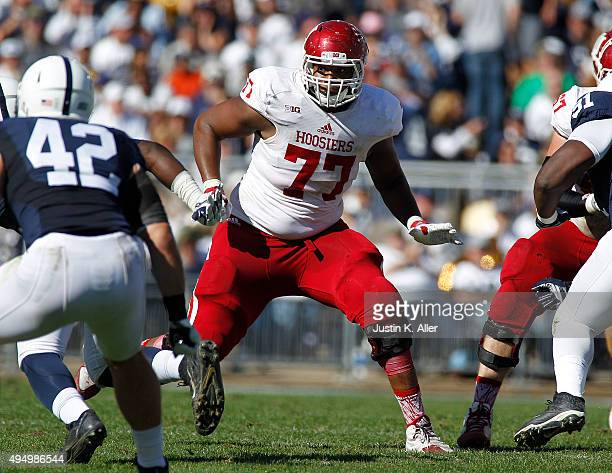 Dimitric Camiel of the Indiana Hoosiers in action during the game against the Penn State Nittany Lions on October 10, 2015 at Beaver Stadium in State...