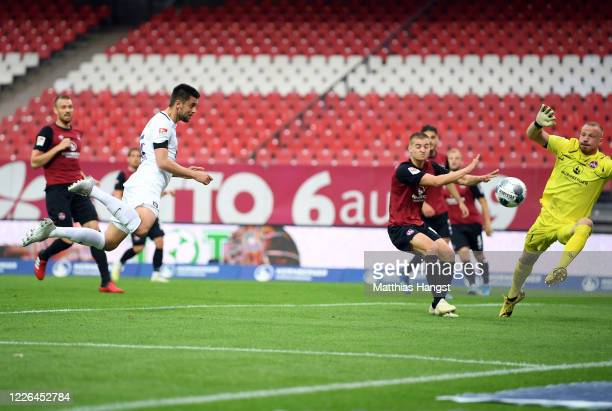 Dimitrij Nazarov of Aue scores his team's first goal during the Second Bundesliga match between 1. FC Nürnberg and FC Erzgebirge Aue at...