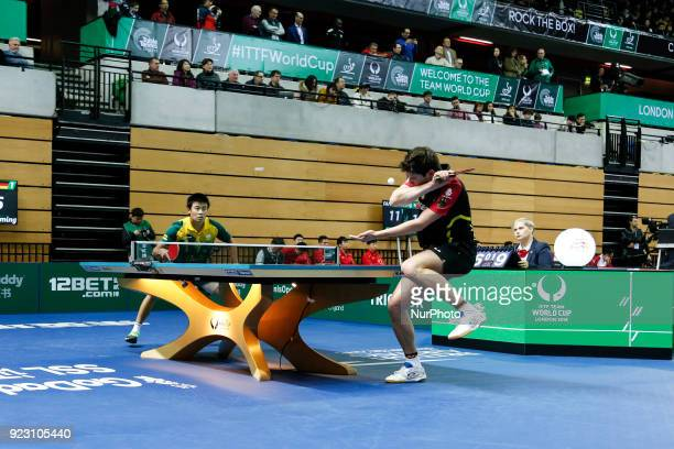 Dimitrij Ovtcharov from Germany against Hu Heming on the first day of ITTF Team Table Tennis World Cup on February 22, 2018 in Olympic Park in...