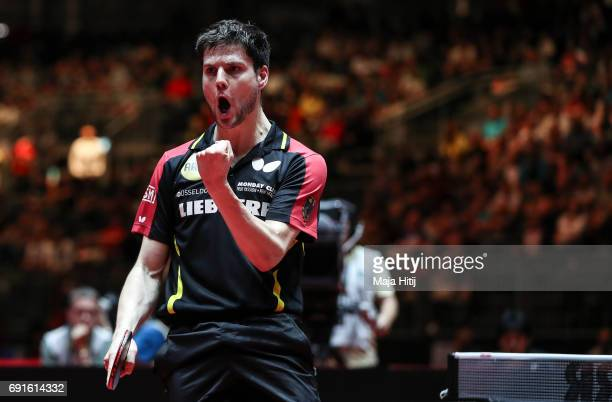 Dimitrij Ovtcharov of Germany celebrates during Men's Singles quarterfinals at Table Tennis World Championship at Messe Duesseldorf on June 2 2017 in...