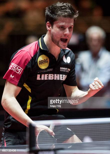 Dimitrij Ovtcharov of Germany celebrates during quarterfinal of Table Tennis World Championship at Messe Duesseldorf on June 4 2017 in Dusseldorf...