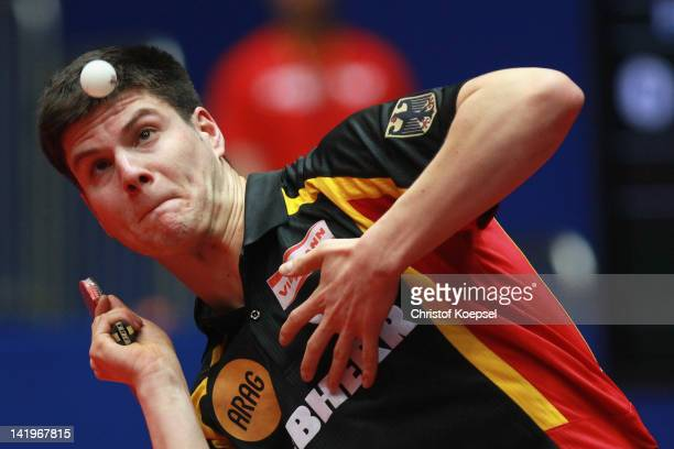 Dimitrij Ovtcharov of Germany during his match against Marcos Freitas of Portugal during the LIEBHERR table tennis team world cup 2012 championship...