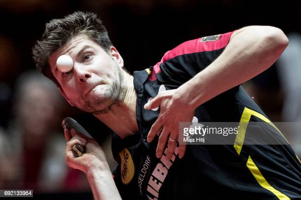 Dimitrij Ovtcharov of Germany in action during quarterfinal of Table Tennis World Championship at Messe Duesseldorf on June 4 2017 in Dusseldorf...
