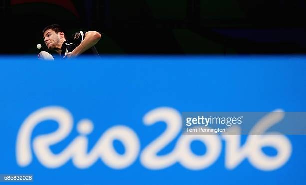 Dimitrij Ovtcherov of Germany practices during a training session for table tennis at Riocentro Pavilion 3 on August 4 2016 in Rio de Janeiro Brazil