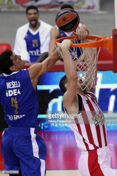 Dimitrios Agravanis #10 of Olympiacos Piraeus competes with Marko Keselj #4 of Crvena Zvezda mts Belgrade during the 2017/2018 Turkish Airlines...