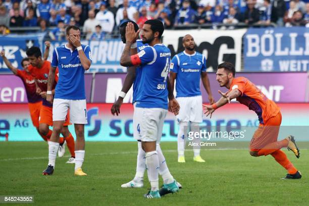 Dimitrios Diamantakos of Bochum celebrates his team's first goal during the Second Bundesliga match between SV Darmstadt 98 and VfL Bochum 1848 at...