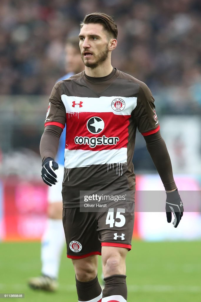 Dimitrios Diamantakos of Pauli appears frustrated during the Second Bundesliga match between FC St. Pauli and SV Darmstadt 98 at Millerntor Stadium on January 28, 2018 in Hamburg, Germany.