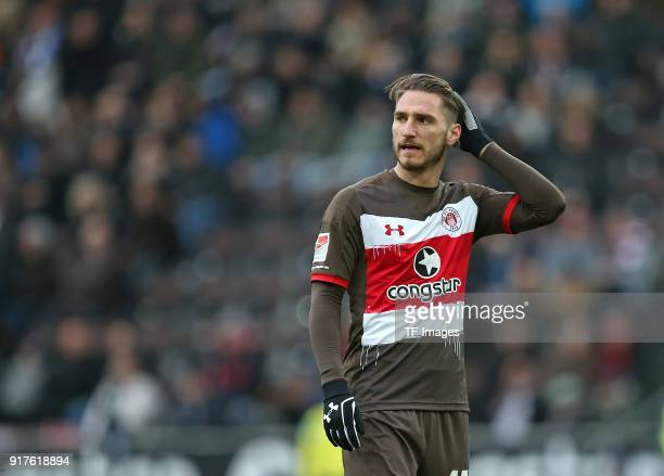 Dimitrios Diamantakos of St Pauli looks on during the Second Bundesliga match between FC St Pauli and SV Darmstadt 98 at Millerntor Stadium on...