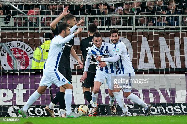 Dimitrios Dianantakos of Karlsruhe celebrates after scoring their first goal during the Second Bundesliga match between FC St Pauli and Karlsruher SC...