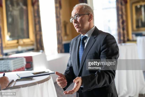 Dimitrios Gerogiannis, chief executive officer of Aegean Airlines SA, gestures while speaking during an Aviation Club lunch in London, U.K., on...