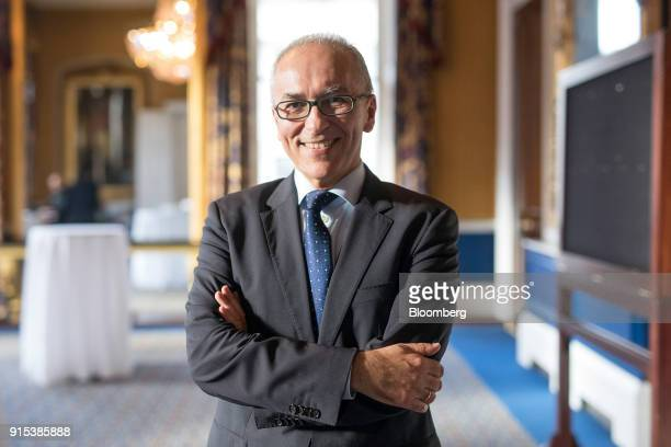 Dimitrios Gerogiannis, chief executive officer of Aegean Airlines SA, poses for a photograph following an Aviation Club lunch in London, U.K., on...