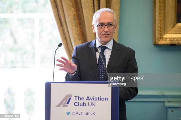 Dimitrios Gerogiannis, chief executive officer of Aegean Airlines SA, speaks during an Aviation Club lunch in London, U.K., on Wednesday, Feb. 7,...