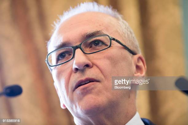 Dimitrios Gerogiannis, chief executive officer of Aegean Airlines SA, speaks at an Aviation Club lunch in London, U.K., on Wednesday, Feb. 7, 2018....