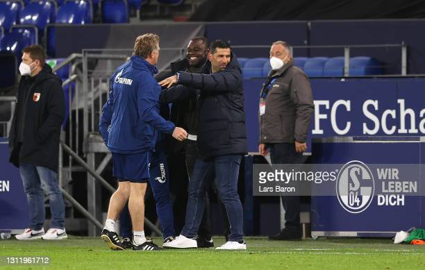 Dimitrios Grammozis, Head Coach of FC Schalke 04 celebrates victory during the Bundesliga match between FC Schalke 04 and FC Augsburg at...