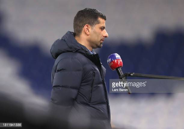 Dimitrios Grammozis, Head Coach of FC Schalke 04 is interviewed prior to the Bundesliga match between FC Schalke 04 and FC Augsburg at Veltins-Arena...