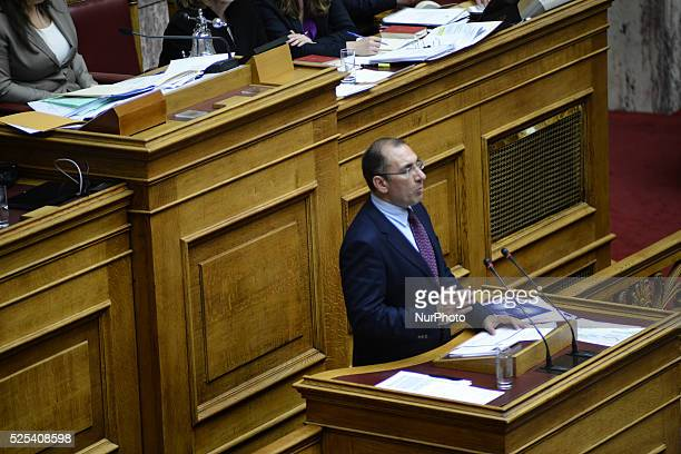 Dimitrios Kammenos speaker of the Independent Greeks on April 6 2015 in Athens Greece Hellenic Parliament discussing about the installation of a...