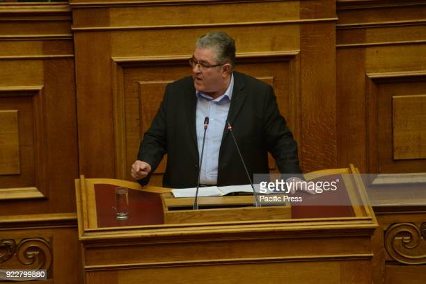 PARLIAMENT ATHENS ATTIKI GREECE Dimitrios Koutsoubas General Secretary of Greek Communist party during his speech in Hellenic Parliament