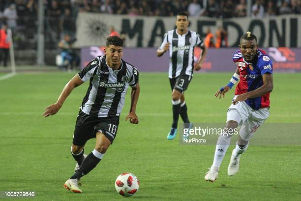 Dimitrios Limnios of PAOK in action during Champions League second qualifying round first leg football match between PAOK FC and FC Basel at the...