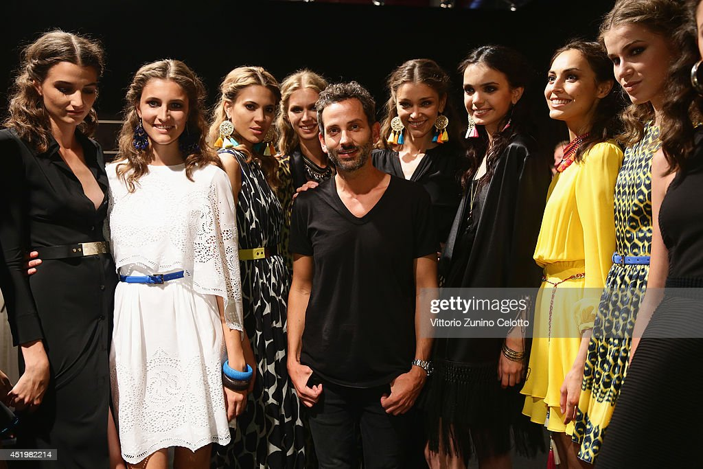 Dimitrios Panagiotopoulos and models seen backstage ahead of the Dimitri show during the Mercedes-Benz Fashion Week Spring/Summer 2015 at Erika Hess Eisstadion on July 10, 2014 in Berlin, Germany.