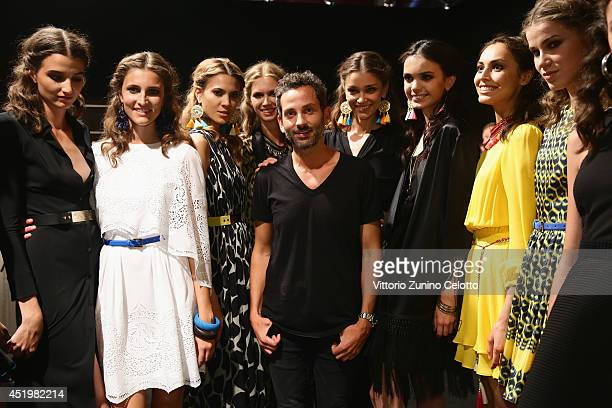 Dimitrios Panagiotopoulos and models seen backstage ahead of the Dimitri show during the MercedesBenz Fashion Week Spring/Summer 2015 at Erika Hess...