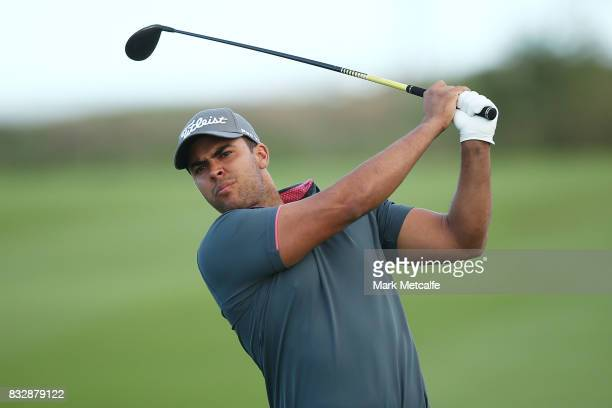 Dimitrios Papadatos of Australia hits an approach shot during day one of the 2017 Fiji International at Natadola Bay Championship Golf Course on...