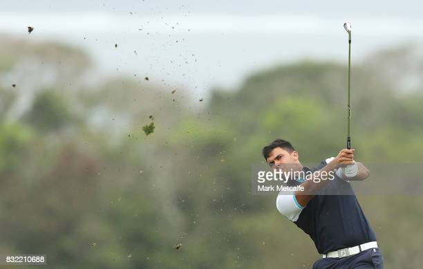 Dimitrios Papadatos of Australia hits an approach shot during the proam ahead of the 2017 Fiji International at Natadola Bay Championship Golf Course...