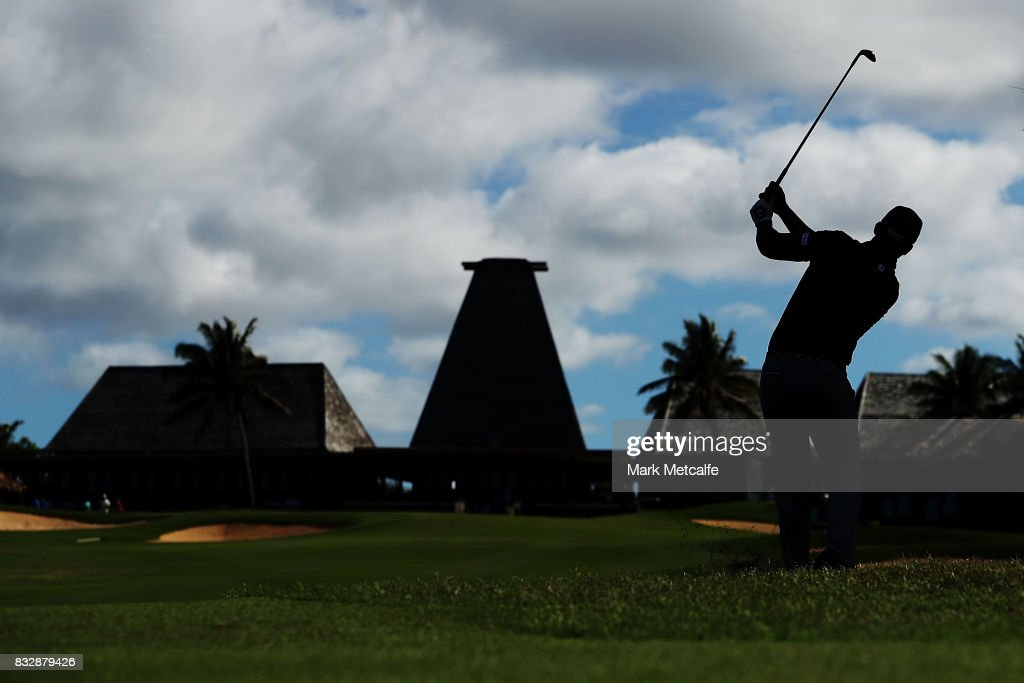Dimitrios Papadatos of Australia hits an approach shot on the 18th hole during day one of the 2017 Fiji International at Natadola Bay Championship Golf Course on August 17, 2017 in Suva, Fiji.