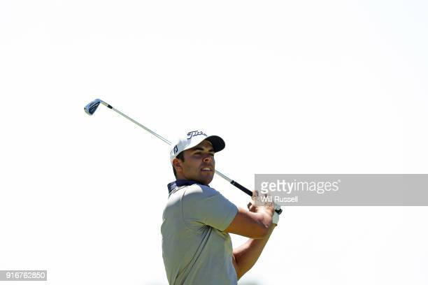 Dimitrios Papadatos of Australia hits his second shot on the 6th hole during day four of the World Super 6 at Lake Karrinyup Country Club on February...
