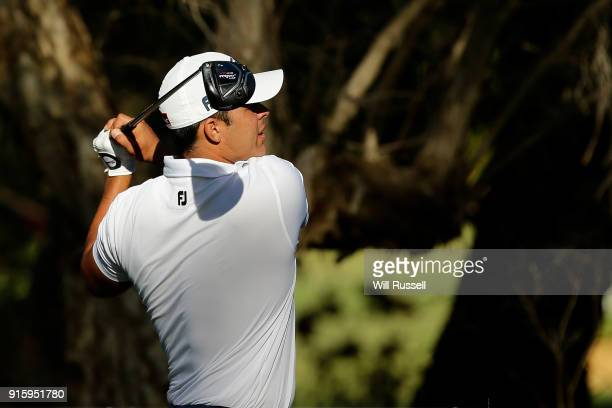 Dimitrios Papadatos of Australia hits his tee shot on the 11th holeduring day two of the World Super 6 at Lake Karrinyup Country Club on February 9...