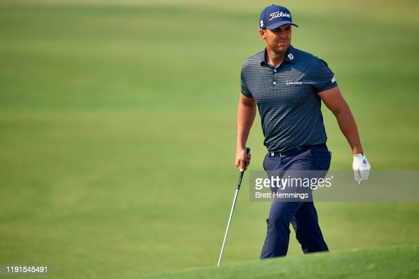 Dimitrios Papadatos of Australia is pictured on the 18th green during a practice round ahead of the 2019 Australian Golf Open at The Australian Golf...