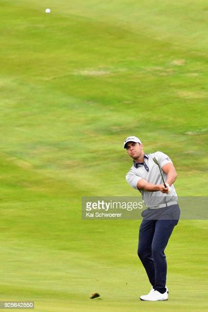 Dimitrios Papadatos of Australia plays a shot during day one of the ISPS Handa New Zealand Golf Open at The Hills Golf Club on March 1 2018 in...