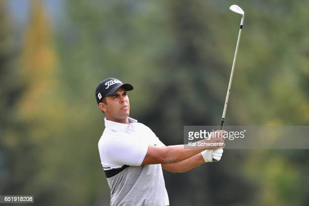 Dimitrios Papadatos of Australia plays a shot during day three of the New Zealand Open at Millbrook Resort on March 11 2017 in Queenstown New Zealand
